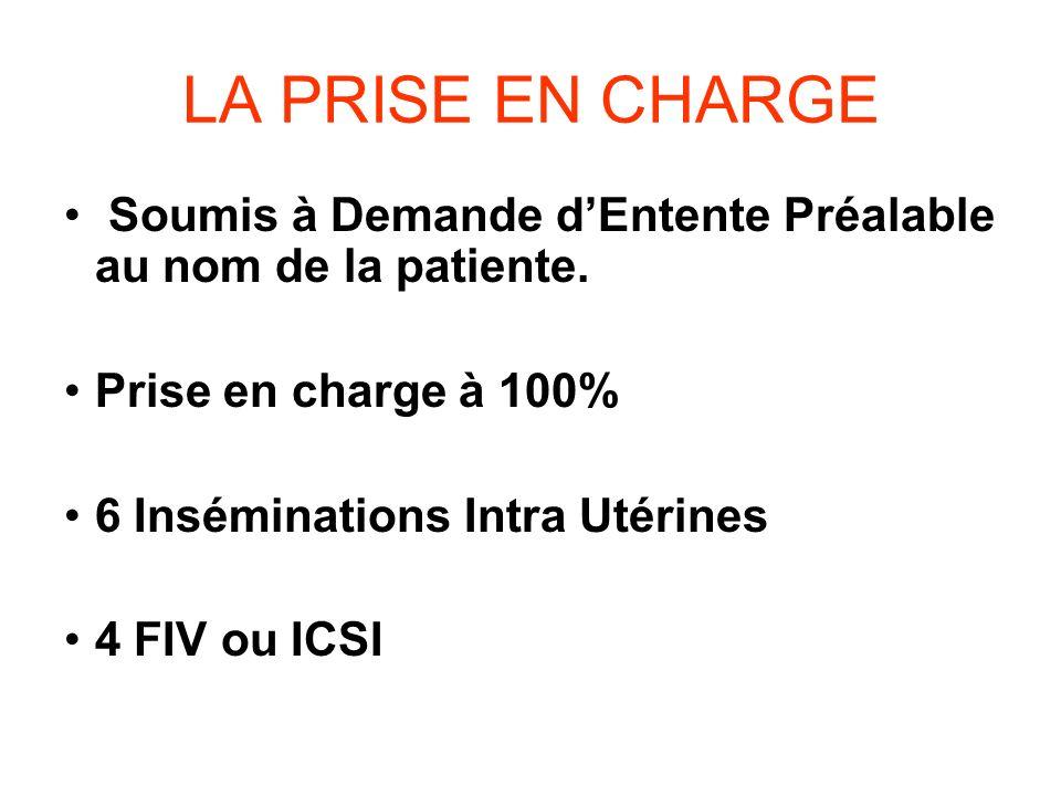 LA PRISE EN CHARGE Soumis à Demande d'Entente Préalable au nom de la patiente. Prise en charge à 100%