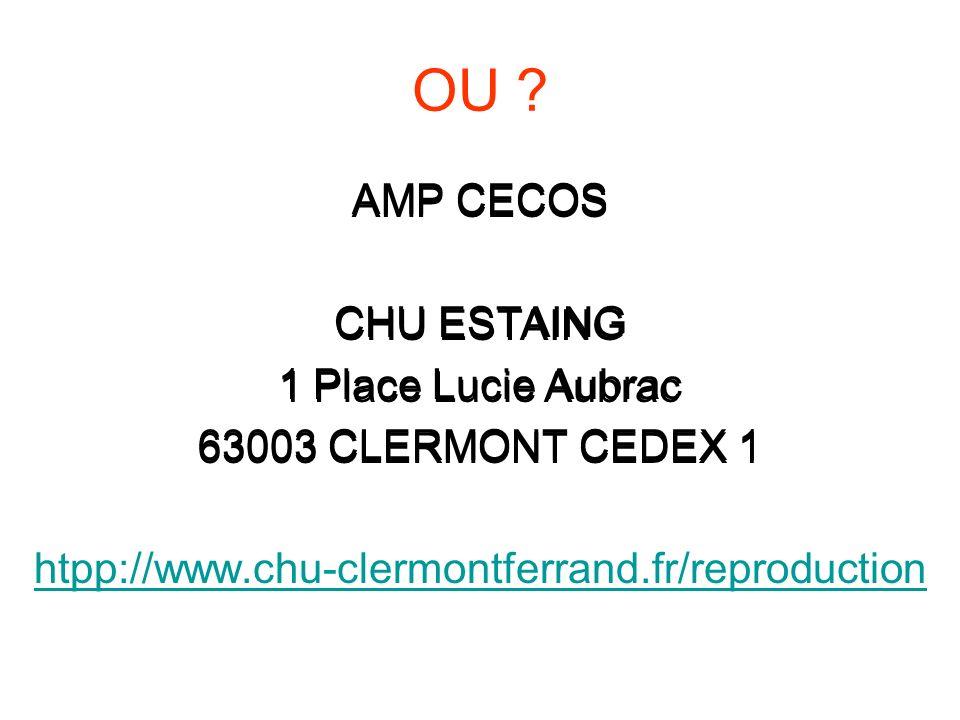 OU AMP CECOS AMP CECOS CHU ESTAING CHU ESTAING 1 Place Lucie Aubrac