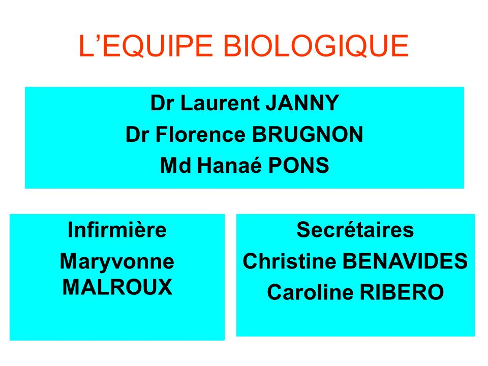 L'EQUIPE BIOLOGIQUE Dr Laurent JANNY Dr Florence BRUGNON Md Hanaé PONS