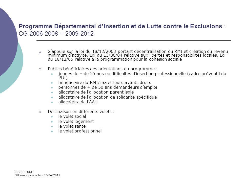 Programme Départemental d'Insertion et de Lutte contre le Exclusions : CG 2006-2008 – 2009-2012