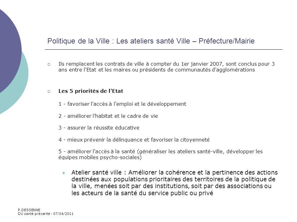 Politique de la Ville : Les ateliers santé Ville – Préfecture/Mairie