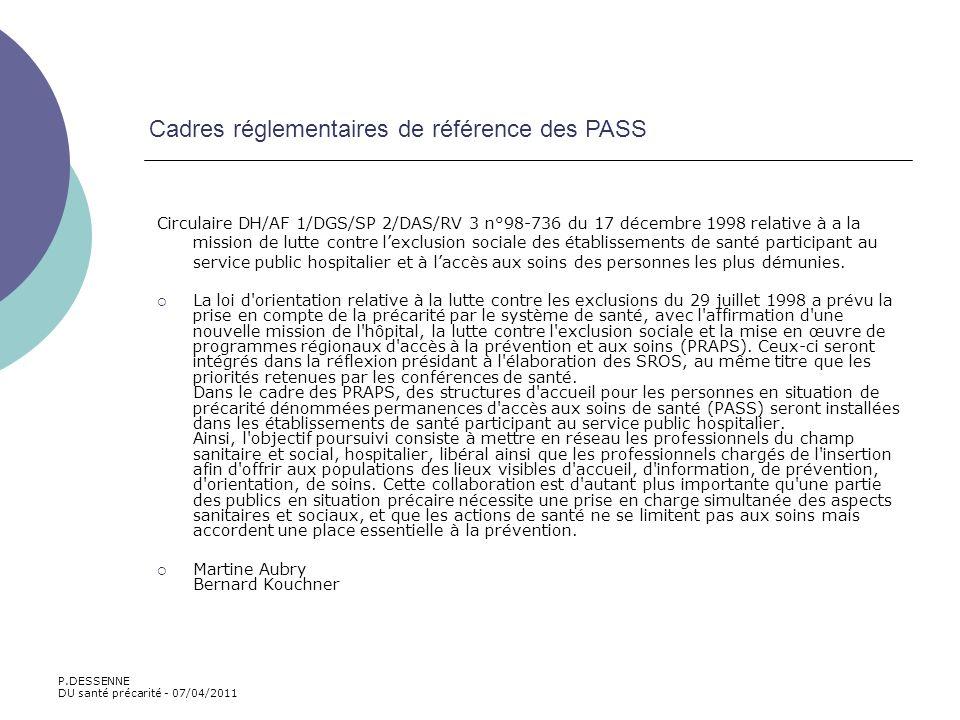 Cadres réglementaires de référence des PASS