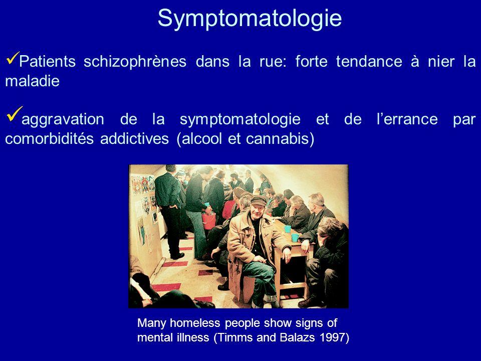 Symptomatologie Patients schizophrènes dans la rue: forte tendance à nier la maladie.