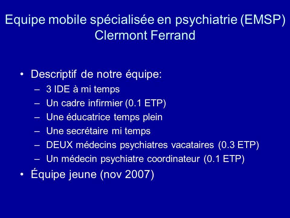 Equipe mobile spécialisée en psychiatrie (EMSP) Clermont Ferrand