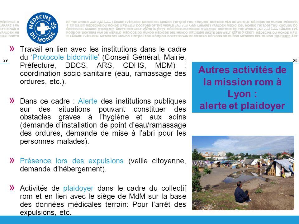 Autres activités de la mission rom à Lyon : alerte et plaidoyer