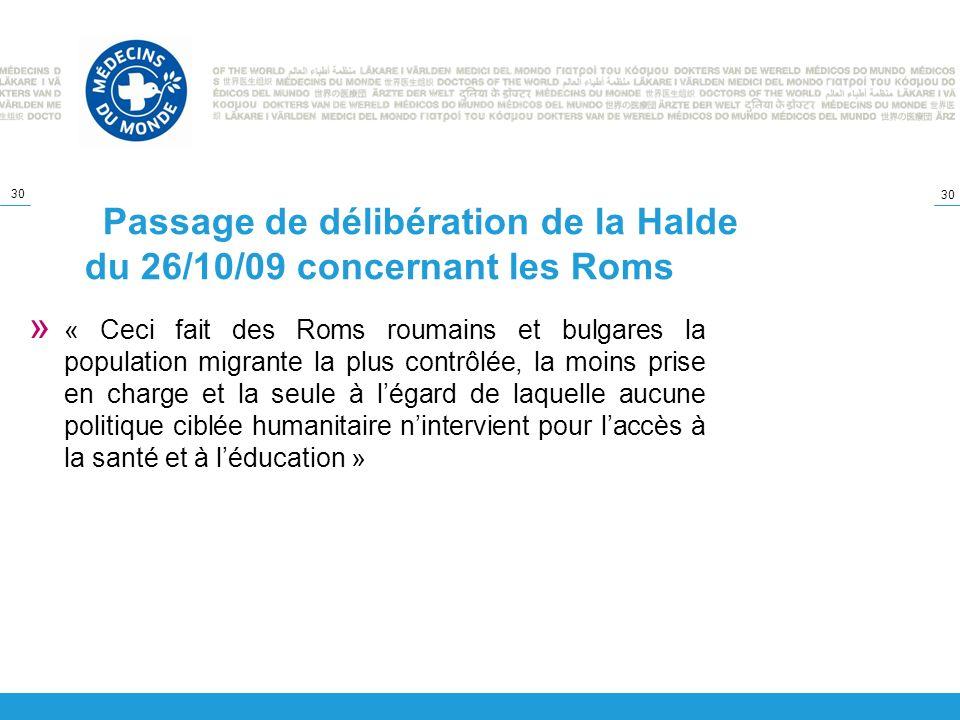 Passage de délibération de la Halde du 26/10/09 concernant les Roms