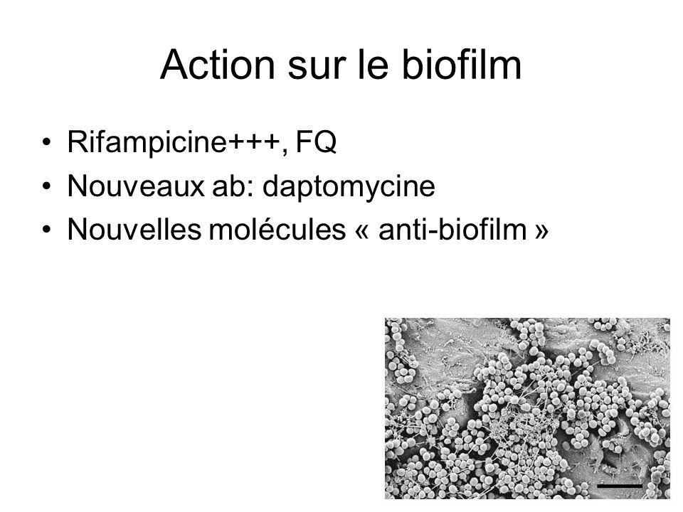 Action sur le biofilm Rifampicine+++, FQ Nouveaux ab: daptomycine