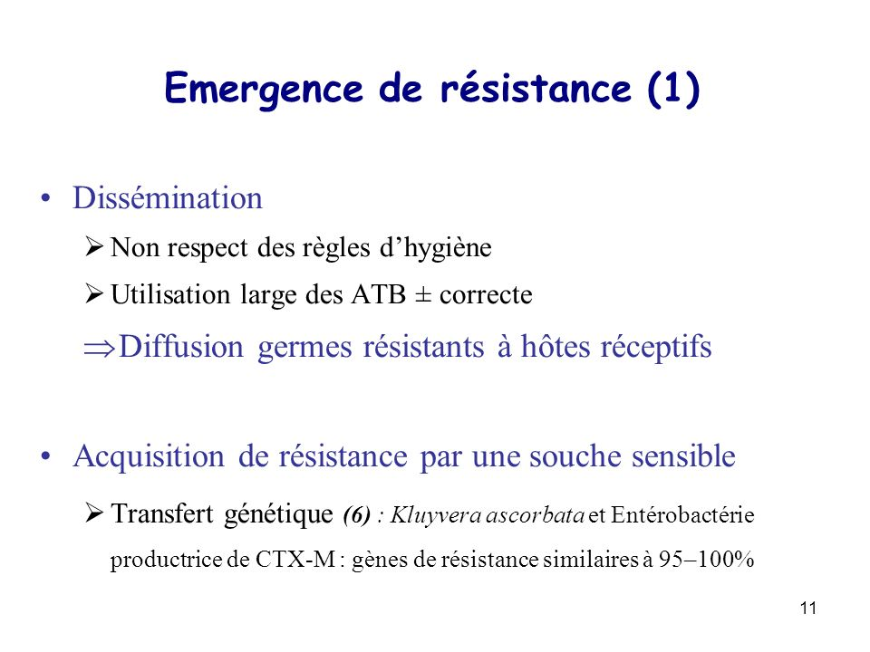 Emergence de résistance (1)