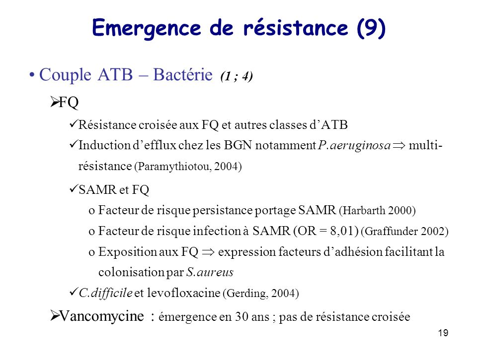 Emergence de résistance (9)