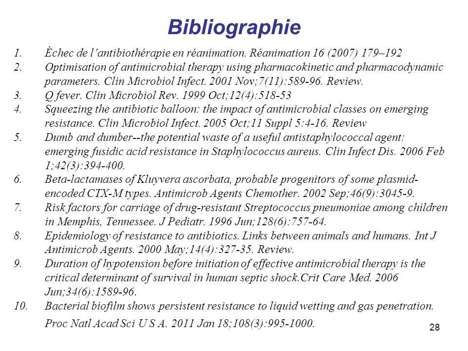 BibliographieÉchec de l'antibiothérapie en réanimation. Réanimation 16 (2007) 179–192.