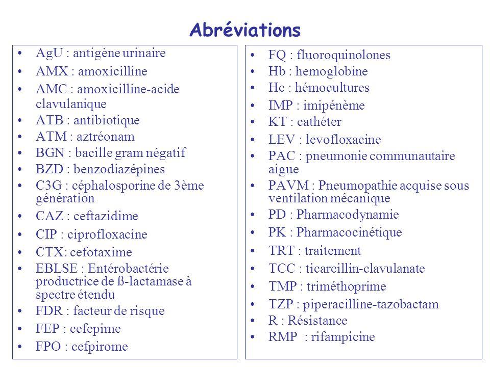Abréviations AgU : antigène urinaire AMX : amoxicilline
