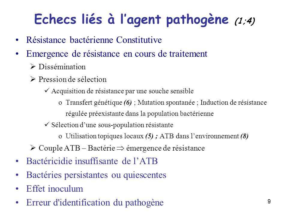 Echecs liés à l'agent pathogène (1;4)