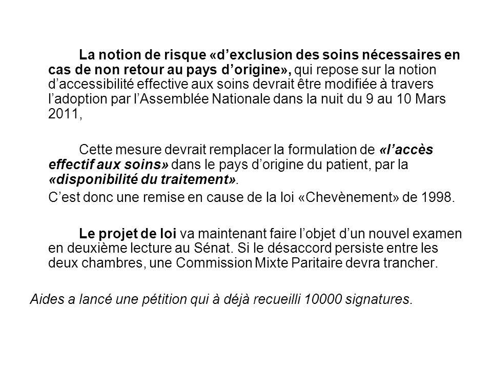 La notion de risque «d'exclusion des soins nécessaires en cas de non retour au pays d'origine», qui repose sur la notion d'accessibilité effective aux soins devrait être modifiée à travers l'adoption par l'Assemblée Nationale dans la nuit du 9 au 10 Mars 2011,