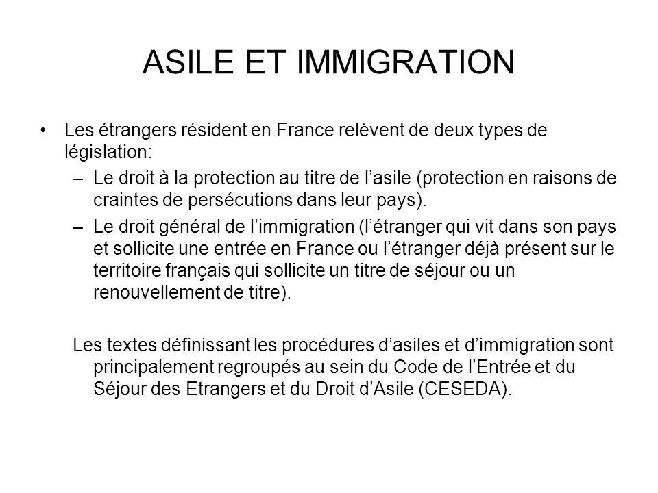 ASILE ET IMMIGRATION Les étrangers résident en France relèvent de deux types de législation:
