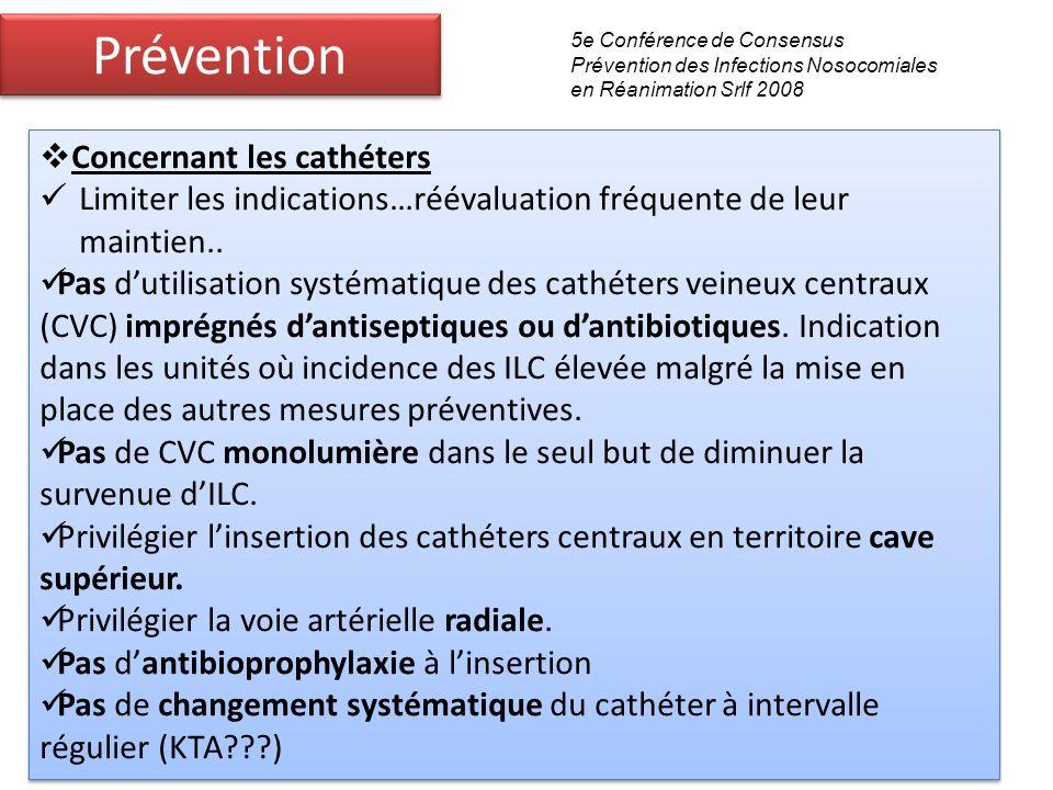 Prévention Concernant les cathéters