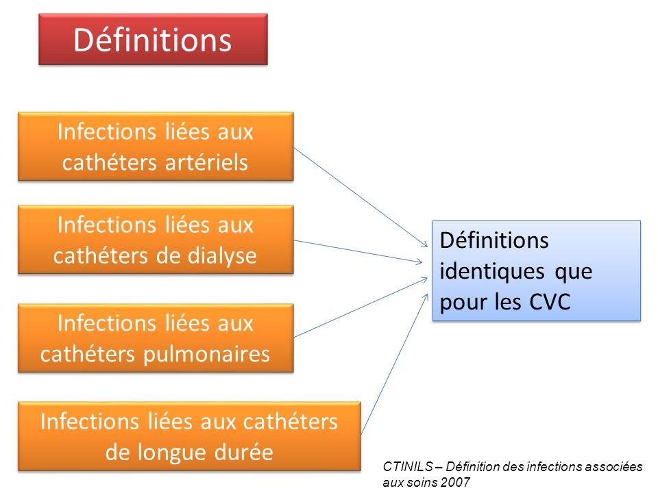 Définitions Infections liées aux cathéters artériels