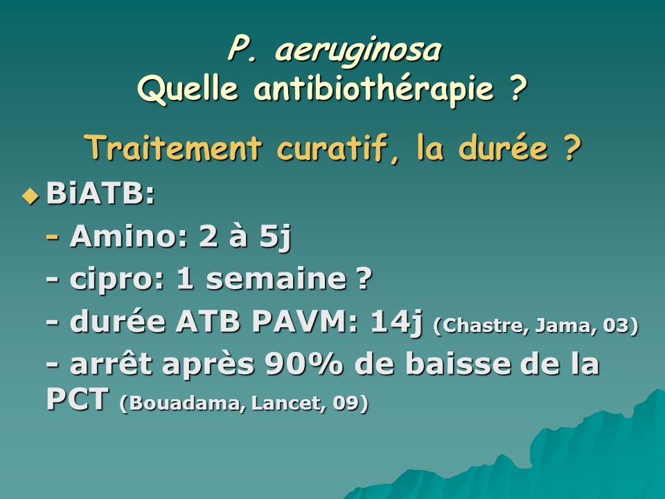 P. aeruginosa Quelle antibiothérapie Traitement curatif, la durée