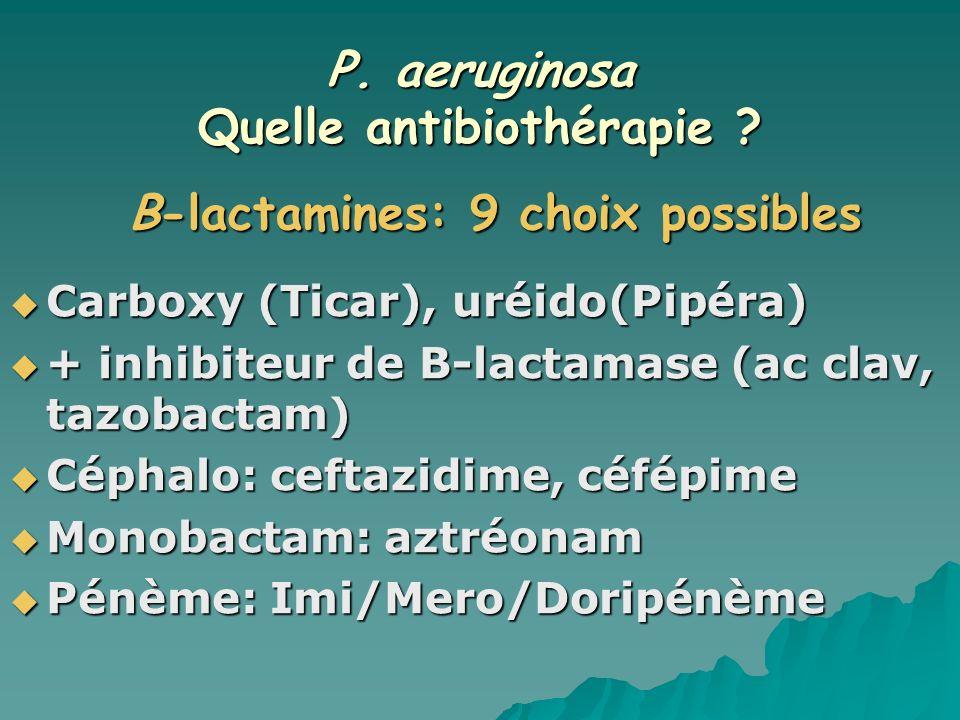 P. aeruginosa Quelle antibiothérapie Β-lactamines: 9 choix possibles