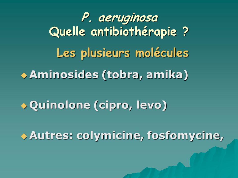 P. aeruginosa Quelle antibiothérapie Les plusieurs molécules