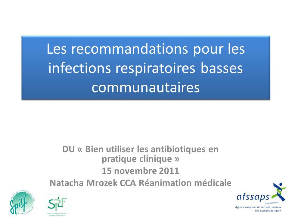 Les recommandations pour les infections respiratoires basses communautaires