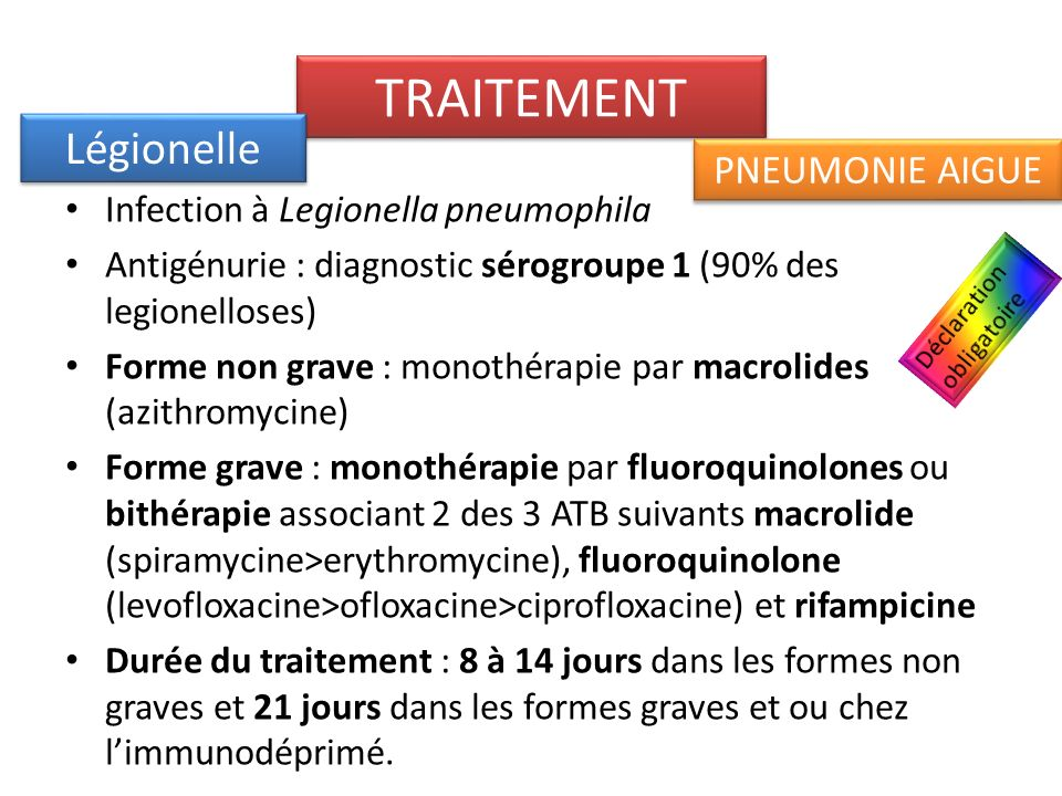 TRAITEMENT Légionelle PNEUMONIE AIGUE
