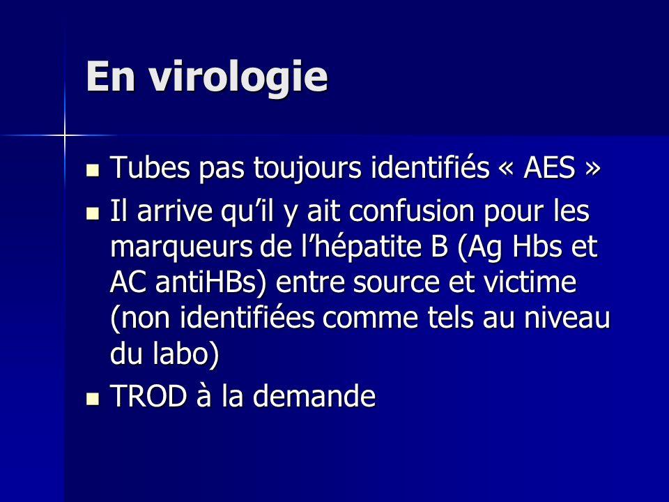 En virologie Tubes pas toujours identifiés « AES »
