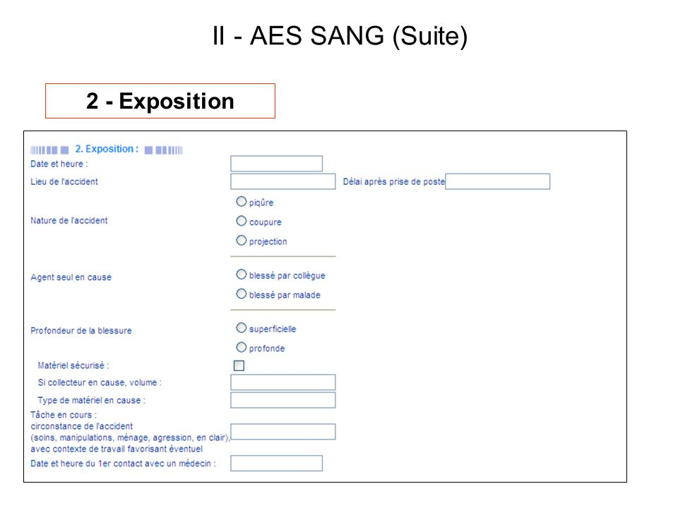 II - AES SANG (Suite) 2 - Exposition