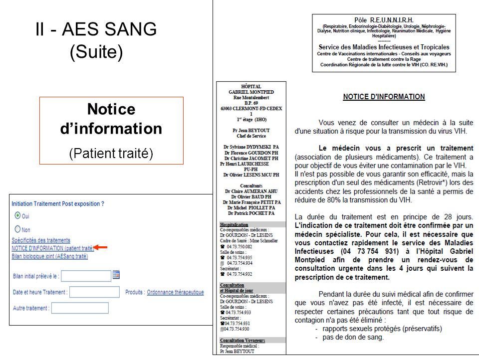 II - AES SANG (Suite) Notice d'information (Patient traité)