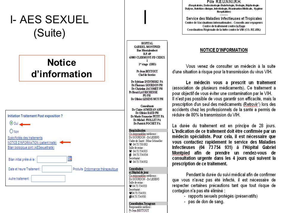 I- AES SEXUEL (Suite) Notice d'information
