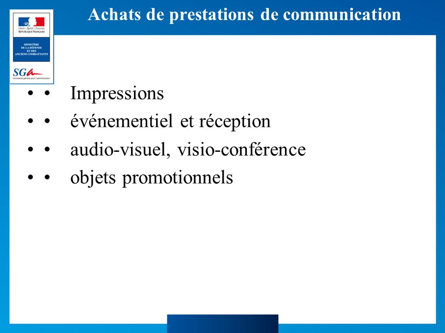 Achats de prestations de communication