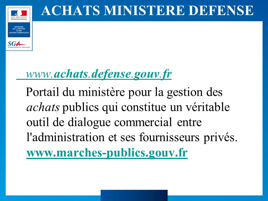 ACHATS MINISTERE DEFENSE