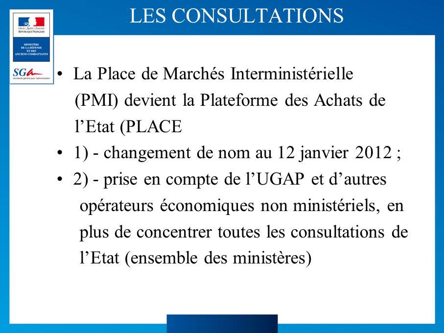 LES CONSULTATIONS La Place de Marchés Interministérielle