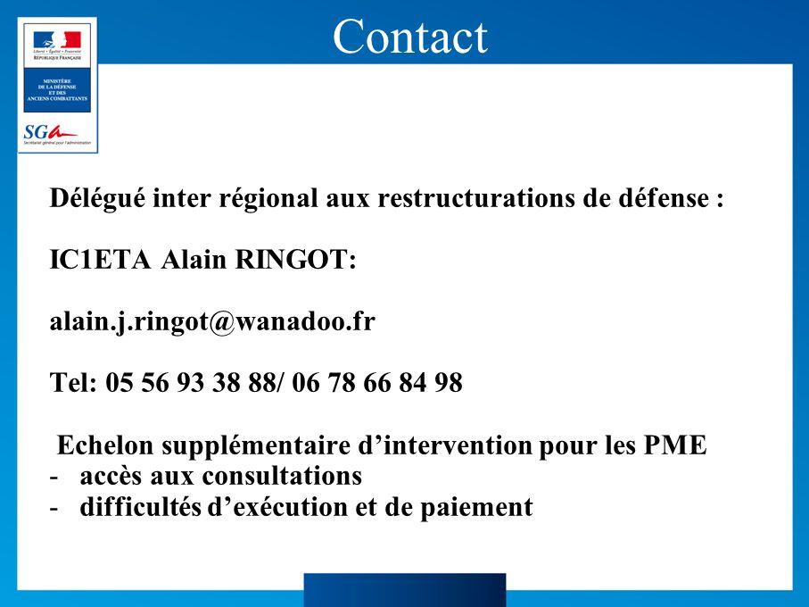 Contact Délégué inter régional aux restructurations de défense :