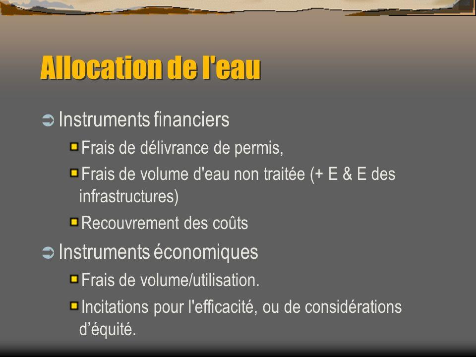 Allocation de l eau Instruments financiers Instruments économiques