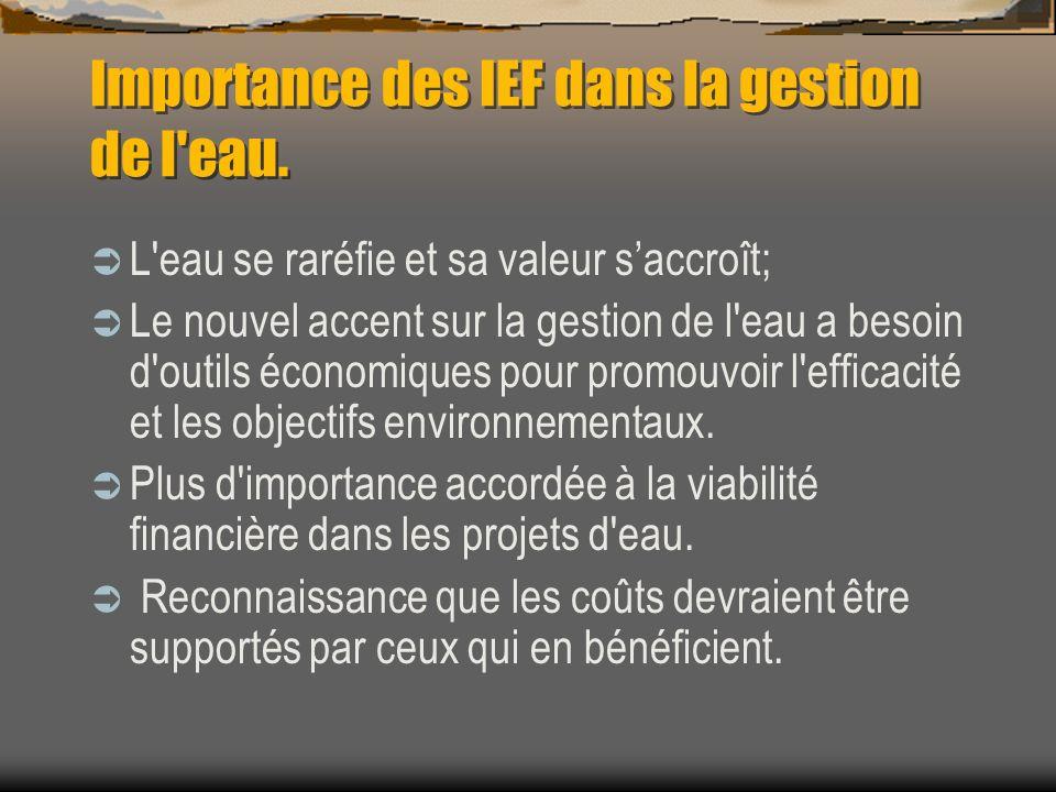 Importance des IEF dans la gestion de l eau.