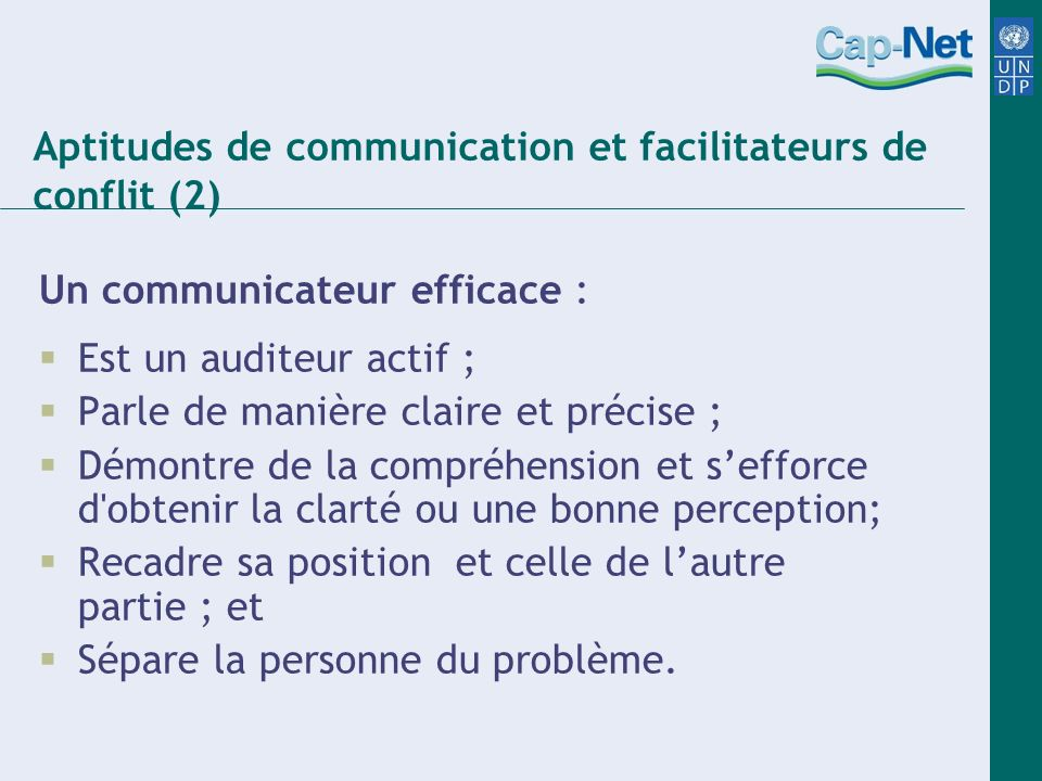 Aptitudes de communication et facilitateurs de conflit (2)