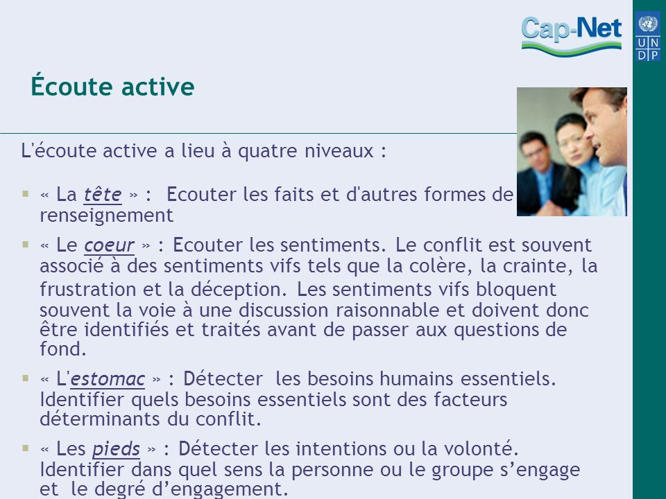 Écoute active L écoute active a lieu à quatre niveaux :