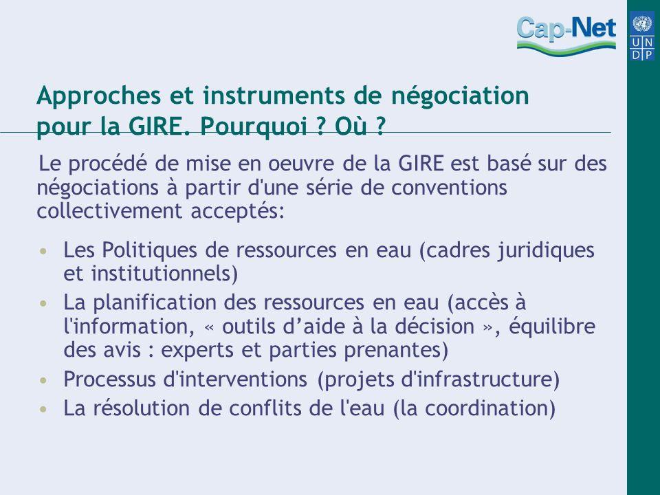Approches et instruments de négociation pour la GIRE. Pourquoi Où
