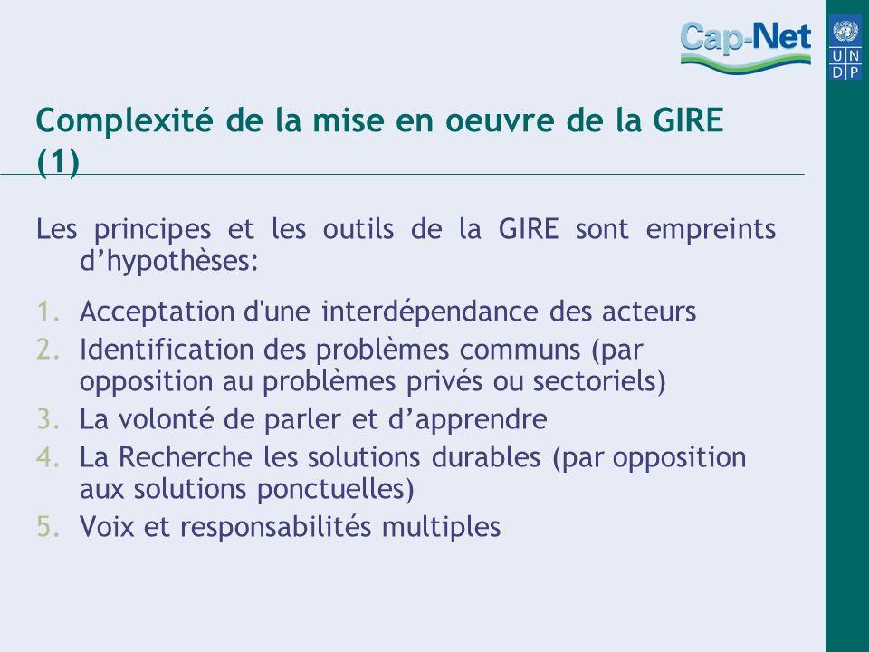 Complexité de la mise en oeuvre de la GIRE (1)