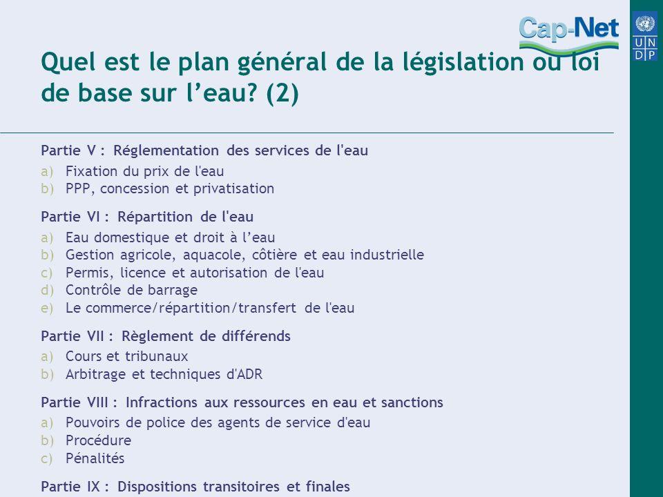 Quel est le plan général de la législation ou loi de base sur l'eau