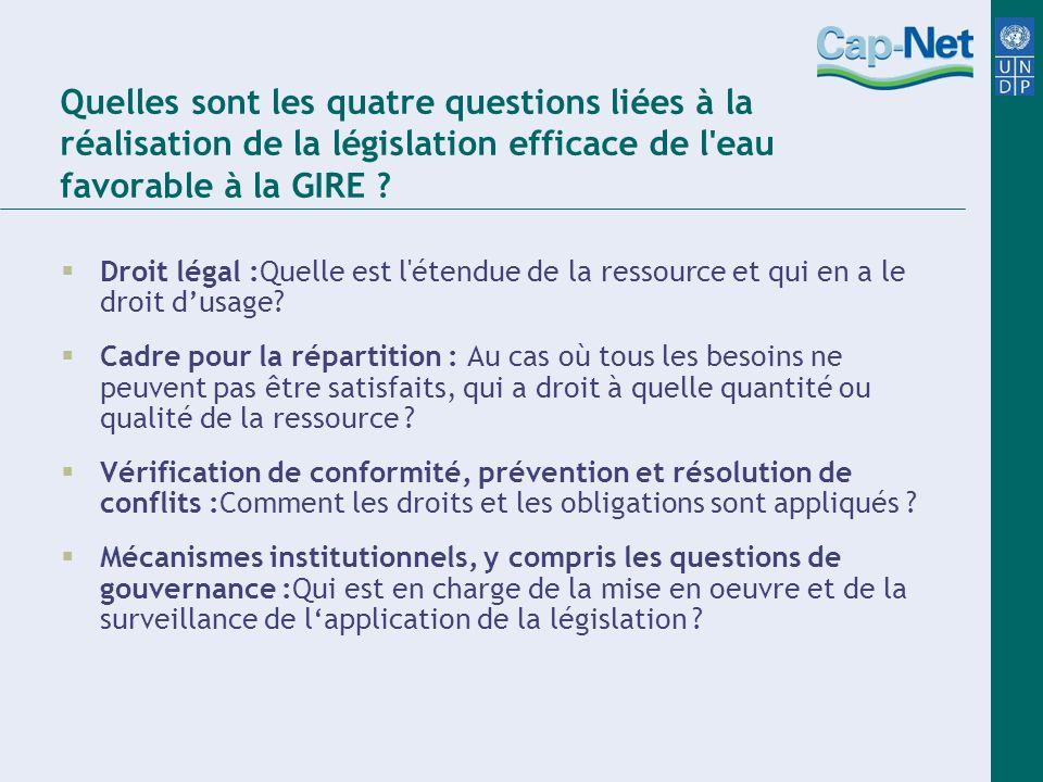 Quelles sont les quatre questions liées à la réalisation de la législation efficace de l eau favorable à la GIRE