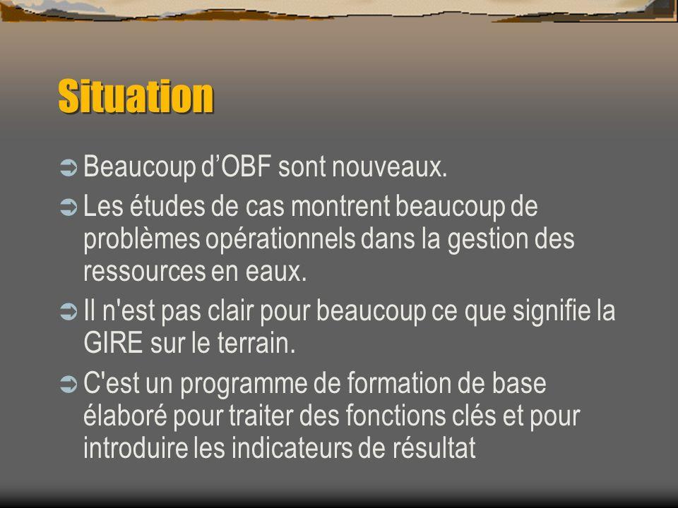 Situation Beaucoup d'OBF sont nouveaux.