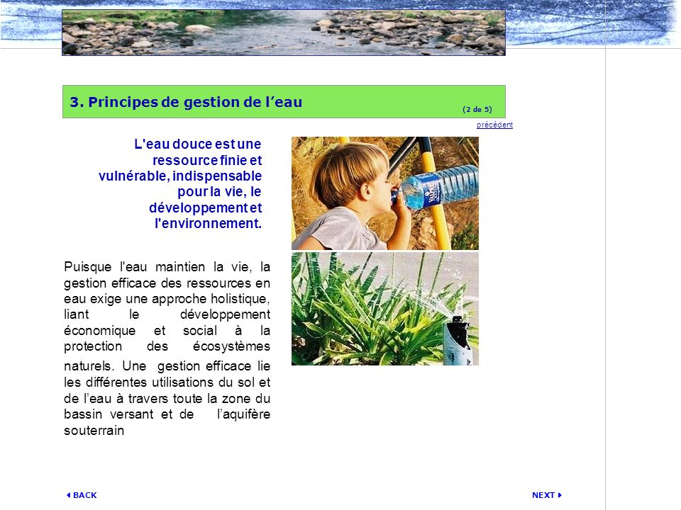 3. Principes de gestion de l'eau