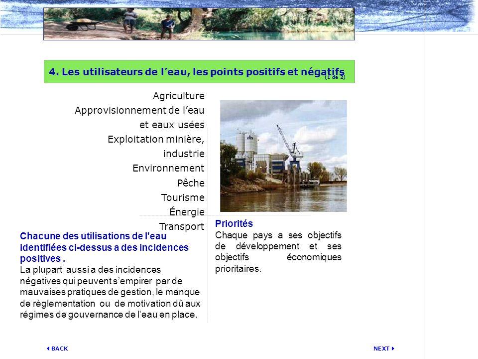 4. Les utilisateurs de l'eau, les points positifs et négatifs