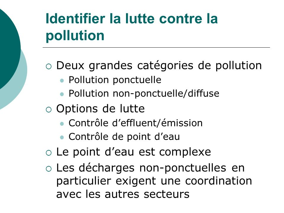 Identifier la lutte contre la pollution