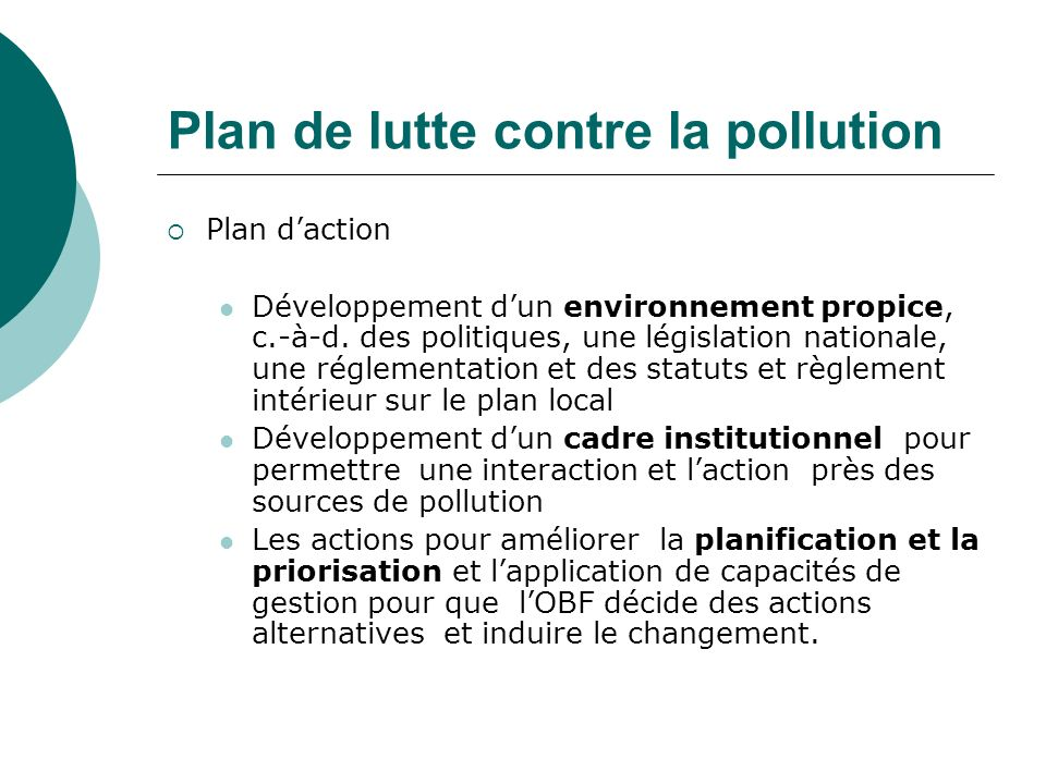 Plan de lutte contre la pollution