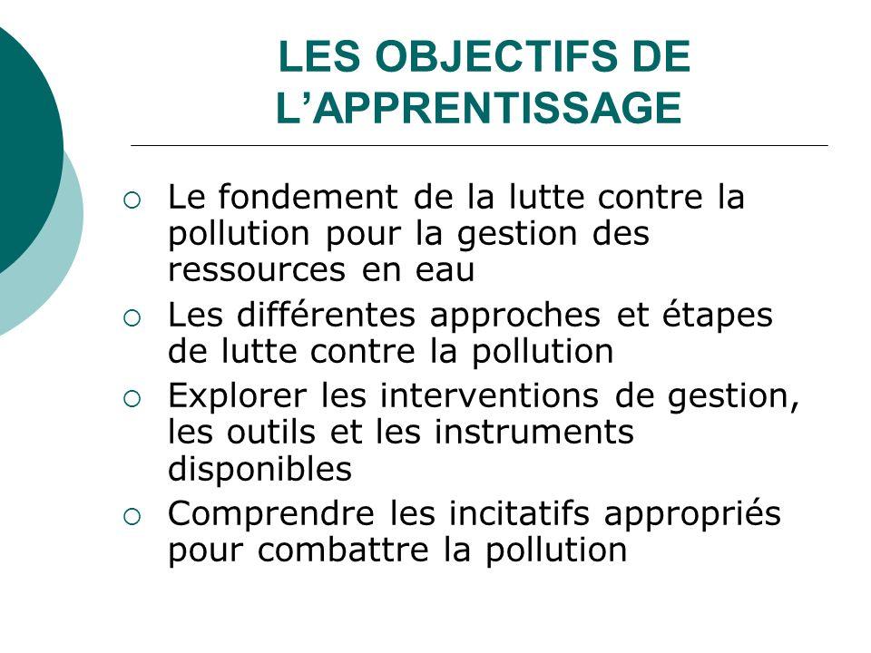 LES OBJECTIFS DE L'APPRENTISSAGE