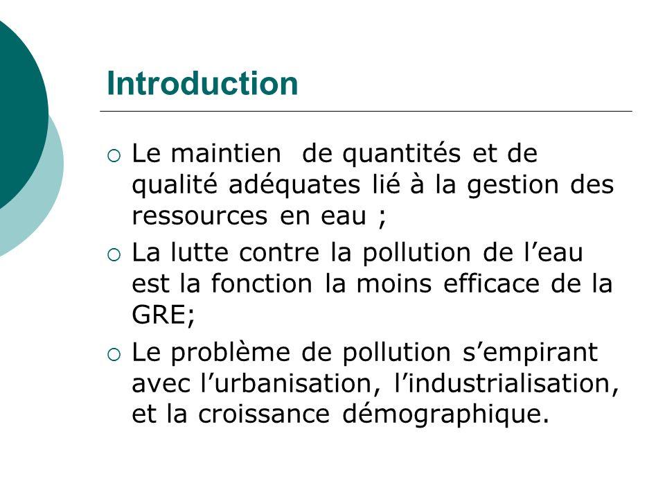Introduction Le maintien de quantités et de qualité adéquates lié à la gestion des ressources en eau ;