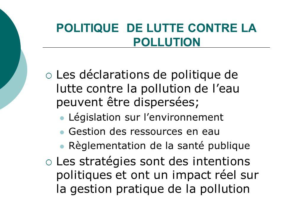 POLITIQUE DE LUTTE CONTRE LA POLLUTION