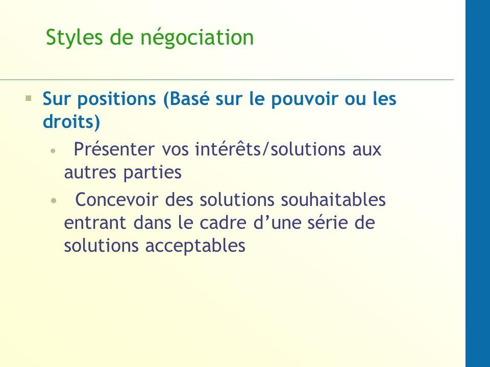 Styles de négociation Sur positions (Basé sur le pouvoir ou les droits) Présenter vos intérêts/solutions aux autres parties.